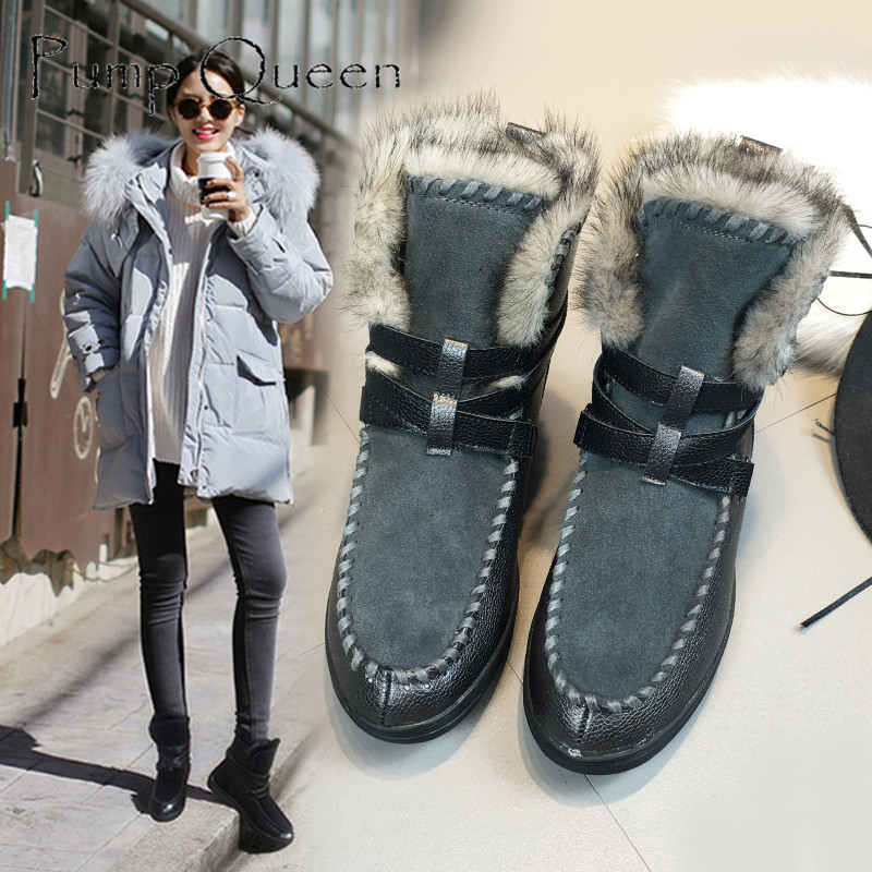 ФОТО High Quality! 2016 genuine leather snow boots platform women winter shoes handmade brand warmest fur boots gray black