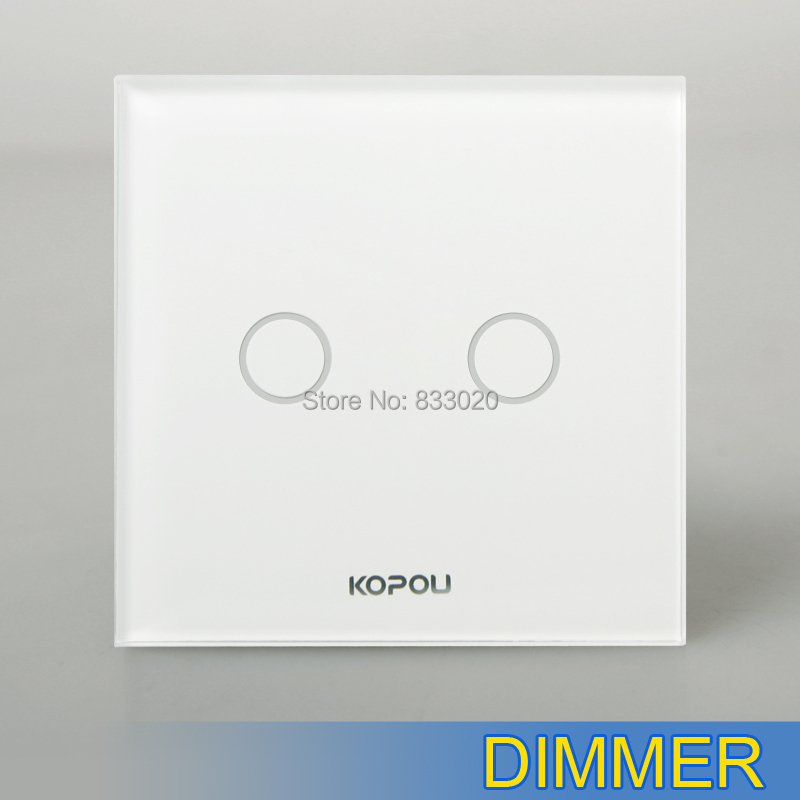 KOPOU UK/EU Standard 2 Gang 1 Way Touch Dimmer Switch, White Crystal ...