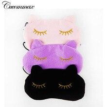 Cucommax Cute Cat Sleeping Eye Mask Nap Cartoon Eye Shade Sleep Mask Black Mask Bandage on