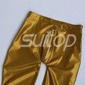 Suitop 0.45 mm de látex de caucho pegados leggings con cremallera frontal para ault para hombre de o mujeres oro metálico y plata