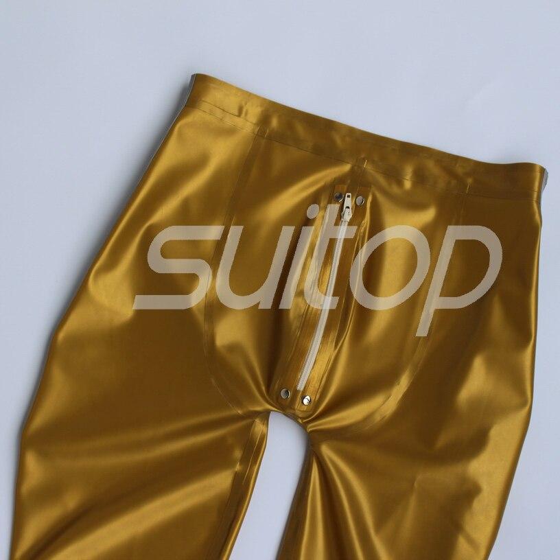 Suitop 0.45mm 라텍스 고무 접착 레깅스, 전면 지퍼, ault 남성용 또는 여성용 메탈릭 골드 및 실버