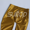 Suitop  0.45mm latex rubber glued leggings with front zip for ault male's or women Metallic Gold and silver