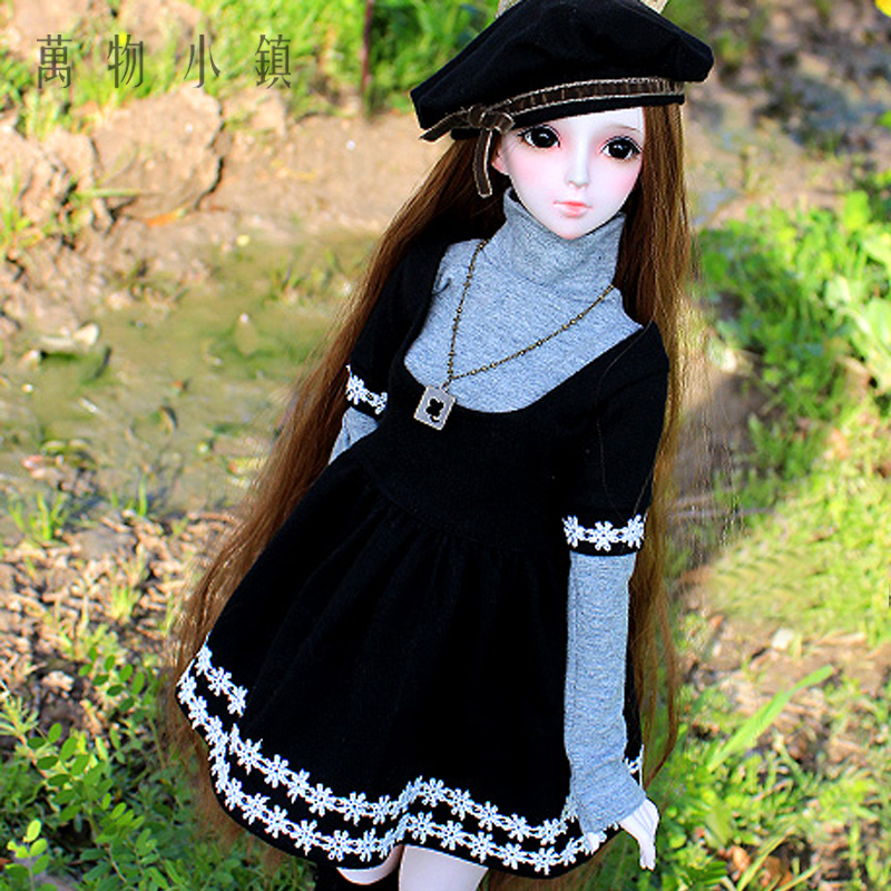 New BJD Black Ladies Dress Shirt Spring Suit (6pcs) for BJD 1/3 SD16 1/4 SD MSD Doll Clothes free match stockings for bjd 1 6 1 4 1 3 sd16 dd sd luts dz as dod doll clothes accessories sk1