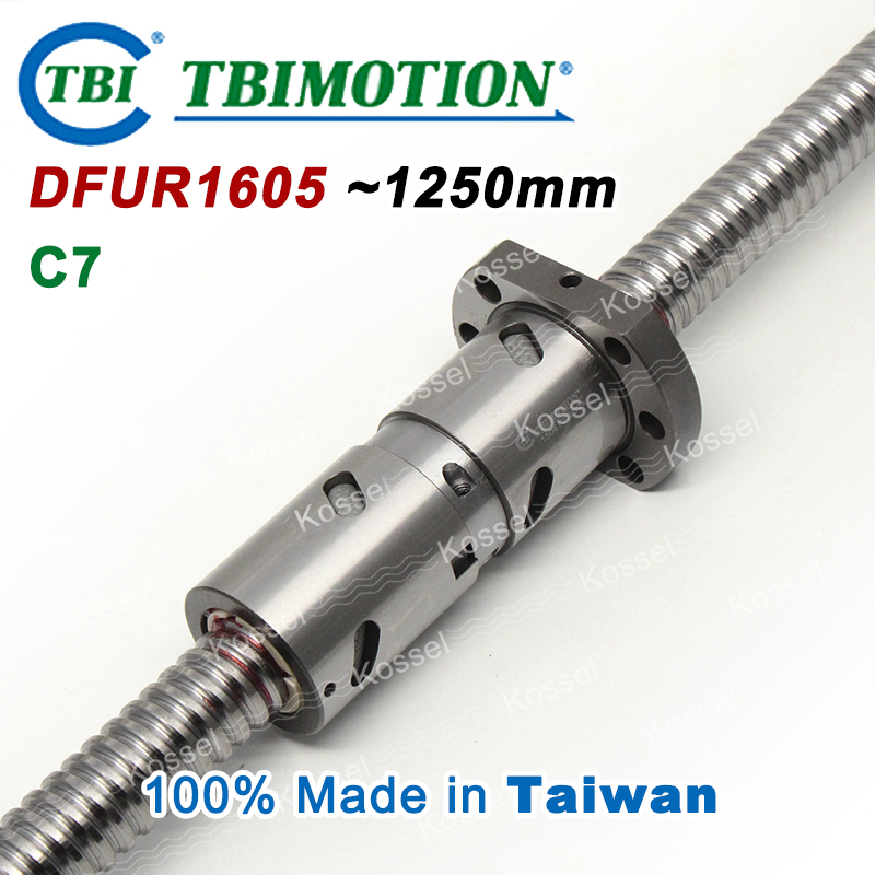 TBI 1605 C7 Rolled 1250mm ball screw 5mm lead with DFU1605 ballnut + end machined for high precision CNC diy kit DFU set tbi 2510 c3 620mm ball screw 10mm lead with dfu2510 ballnut end machined for cnc diy kit dfu set