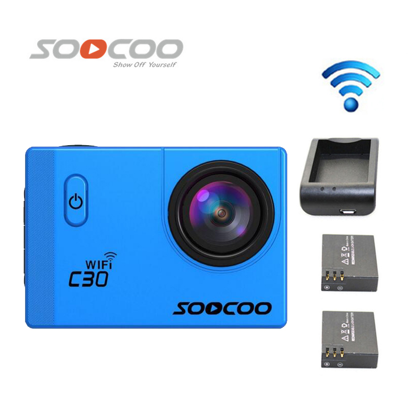 Free Shipping!! SOOCOO C30 Wifi Ultra HD 2K Adjustable Waterproof Outdoor Sports Camera +Extra 2pcs batteries+Battery Charger стоимость