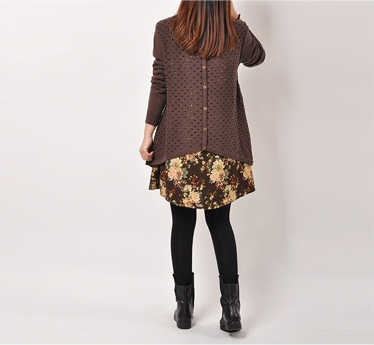 Autumn Winter Women shirt Plus Size Knitted Two-piece suit blouse Casual Print Patchwork Pullover Sweater Tops 35