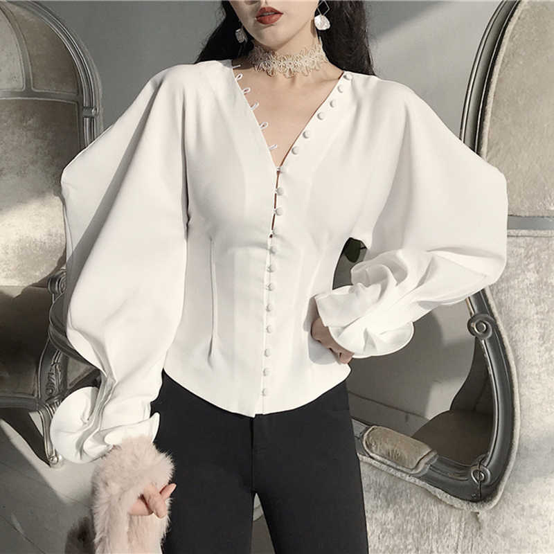 23be435f Women Blusas Femininas 2018 Spring Women Sexy V-Neck Petal Sleeve Vintage Blouse  Shirt Ladies
