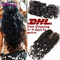 "DHL Fast Shipping 7A Rosa Hair Closure Brazilian Water Wave Closure, 4x4"" Free 3 part Lace Closure Bleached Knots Natural Wave"