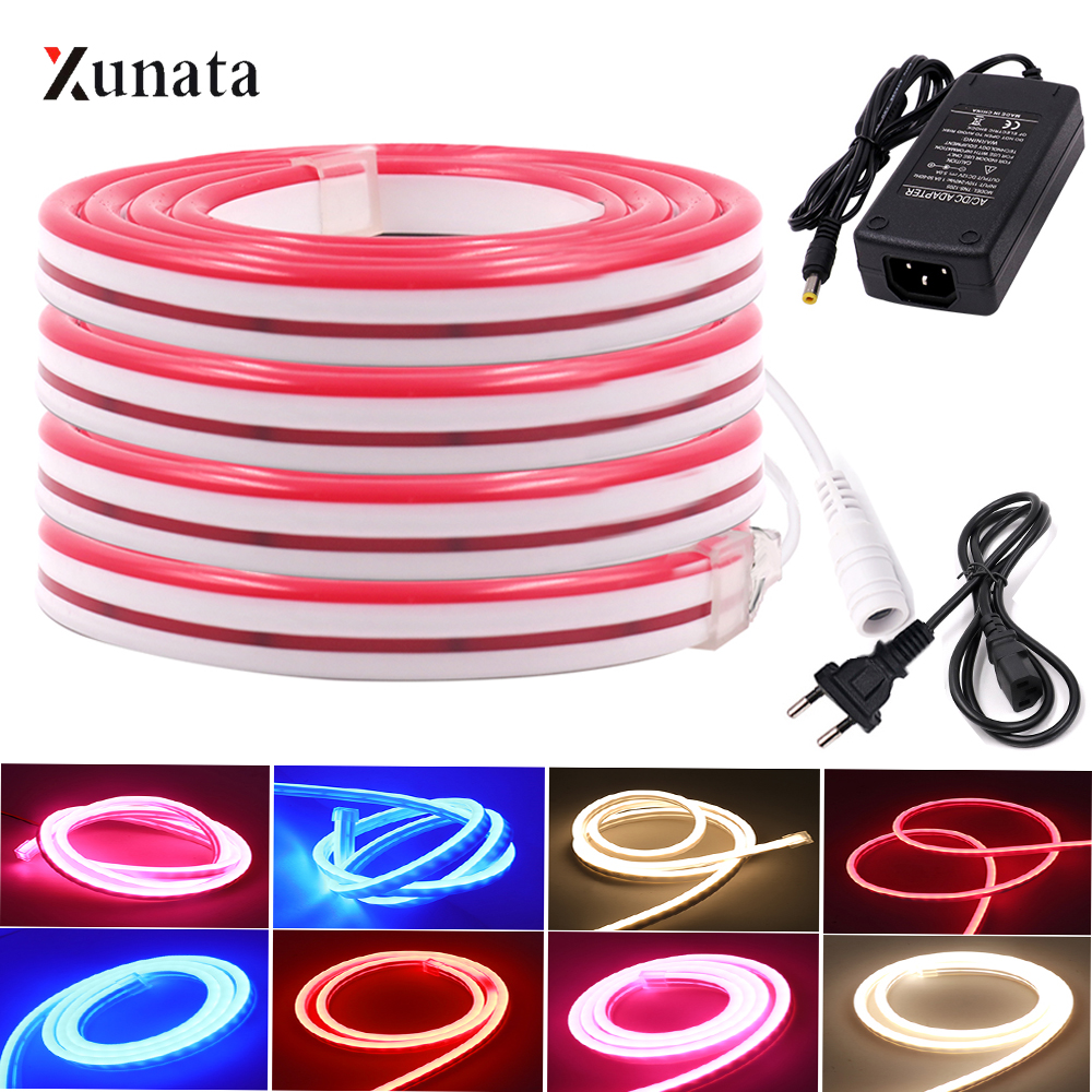 XUNATA DC12V 120Leds 6x12mm LED Neon Light SMD2835 LED Stip Neon Tape Waterproof Flexible Soft Neon Wire Rope Strip For Decor