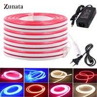 XUNATA-tira de luces LED para decoración cinta de neón Flexible, resistente al agua, de 6x12mm, luz de neón LED SMD2835, DC12V, 120Leds