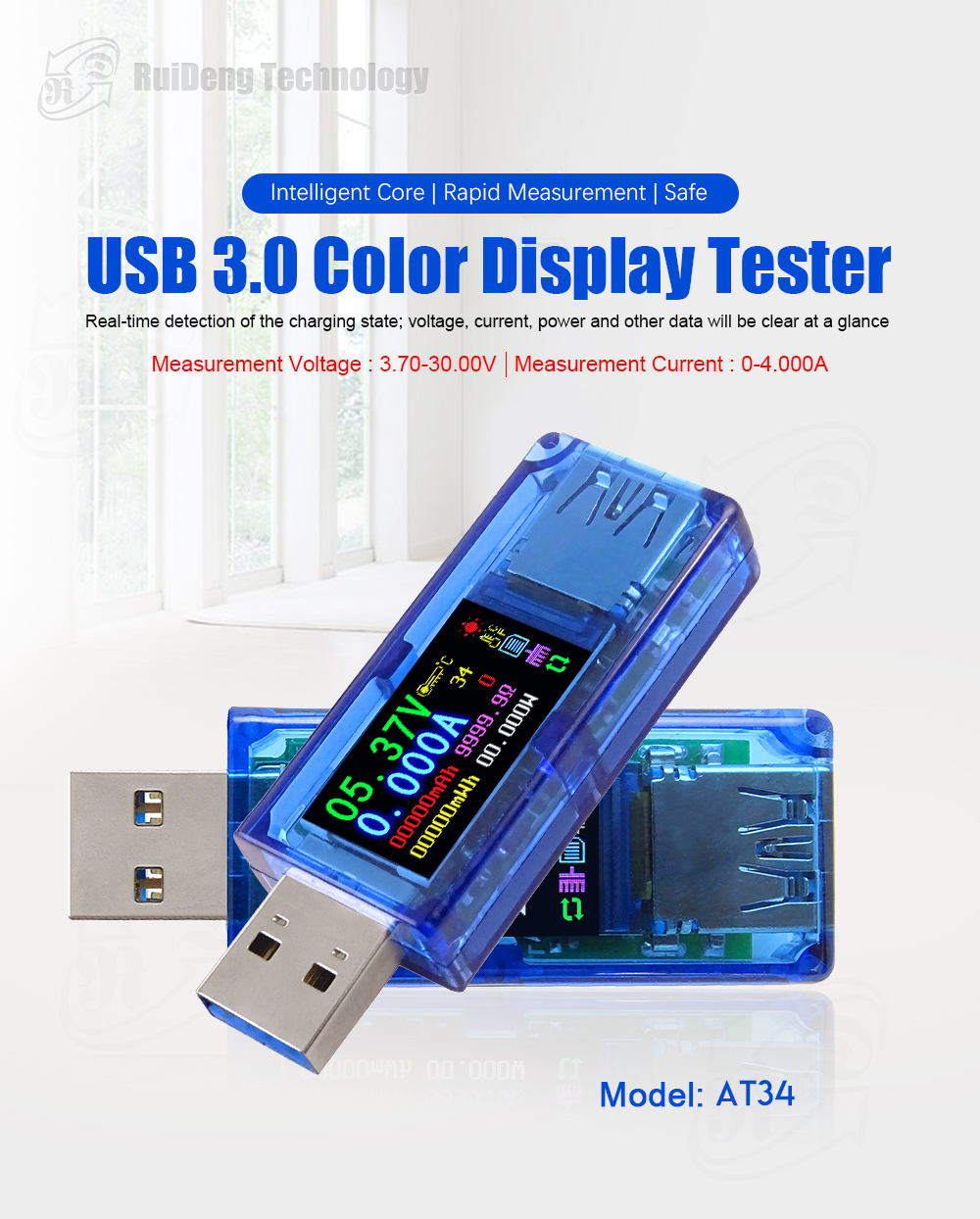 IsMyStore: RD AT34 AT35  USB 3.0 color LCD Voltmeter ammeter voltage current meter multimeter battery charge power bank USB Tester