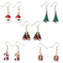 Women Statement Earrings Santa Claus Lovely Christmas Dress Jewelry Dangle Earring Women Tassel earrings Simple Jewelry Gifts santa claus enamel christmas dangle earrings