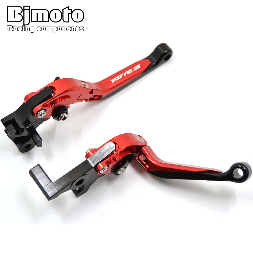 Bjmoto motorbike CNC Extending Folding Clutch Brake Lever Adjustable Aluminum lever for Yamaha Yzf R3 2015 2016 2017 R3 ABS 2017 6 colors cnc adjustable motorcycle brake clutch levers for yamaha yzf r6 yzfr6 1999 2004 2005 2016 2017 logo yzf r6 lever