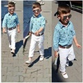 3Pcs One Set Kids Boys Brand Fashion Clothing Set Long sleeve Plaid T-shirt+White Trousers+Belt Ensemble Garcon 2T-8T Boys Set