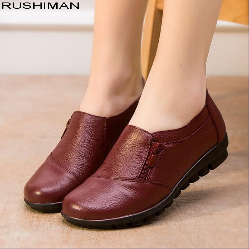 RUSHIMAN Women Flats Genuine Leather Shoes