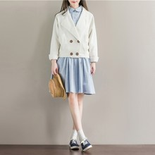 Today Plus 2017 Vintage Women Corduroy Fashion New White Loose Coat Outwear Double breasted Lapel Trench Coat(China)