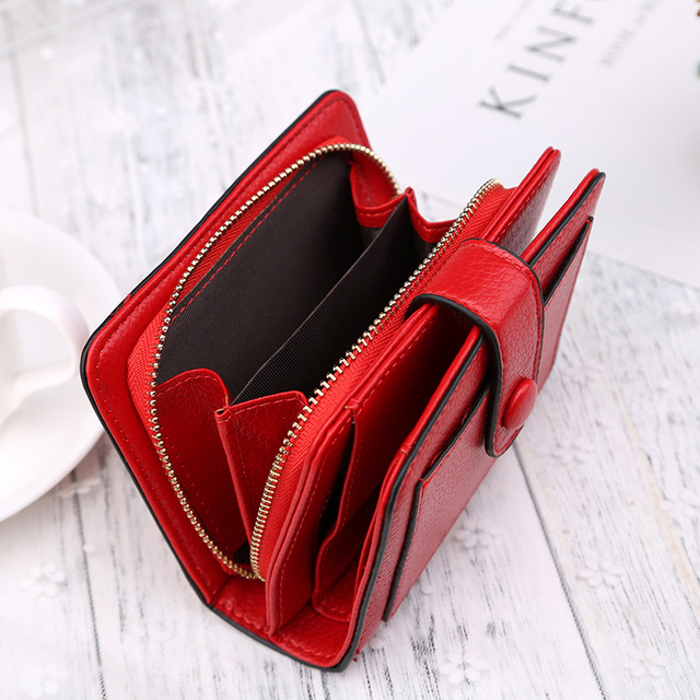 Large Capacity Fashion Women Wallet Short Purses Female Clutch PU Leather Credit card Holder Solid Zipper Bag 3