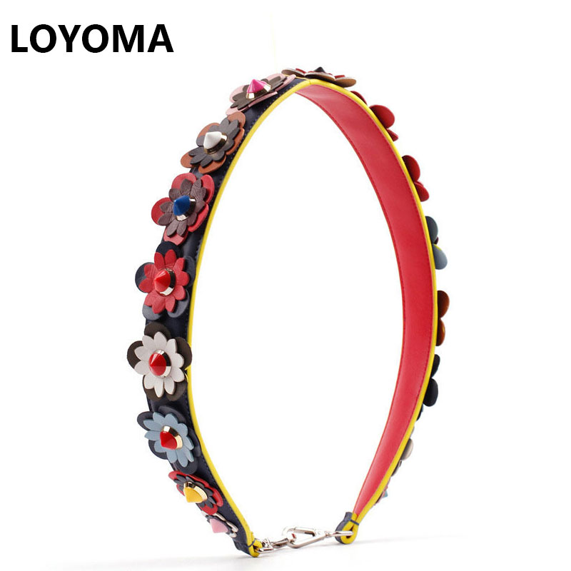 2017 Flowers Strap You Real Leather Colorful Rivets Strap for Women bag Famous Brand Designer Genuine Belt Width High Quality