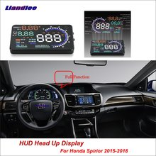 Liandlee Car HUD Head Up Display OBD For Honda Spirior 2015-2018 Digital Speedometer Fuel Consumption Projector Screen Detector