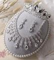 Brillante gota de agua de los Rhinestones cristalinos nupciales Tiara collar pendiente banquete de boda gargantilla borlas cuelga el collar sistemas de la joyería
