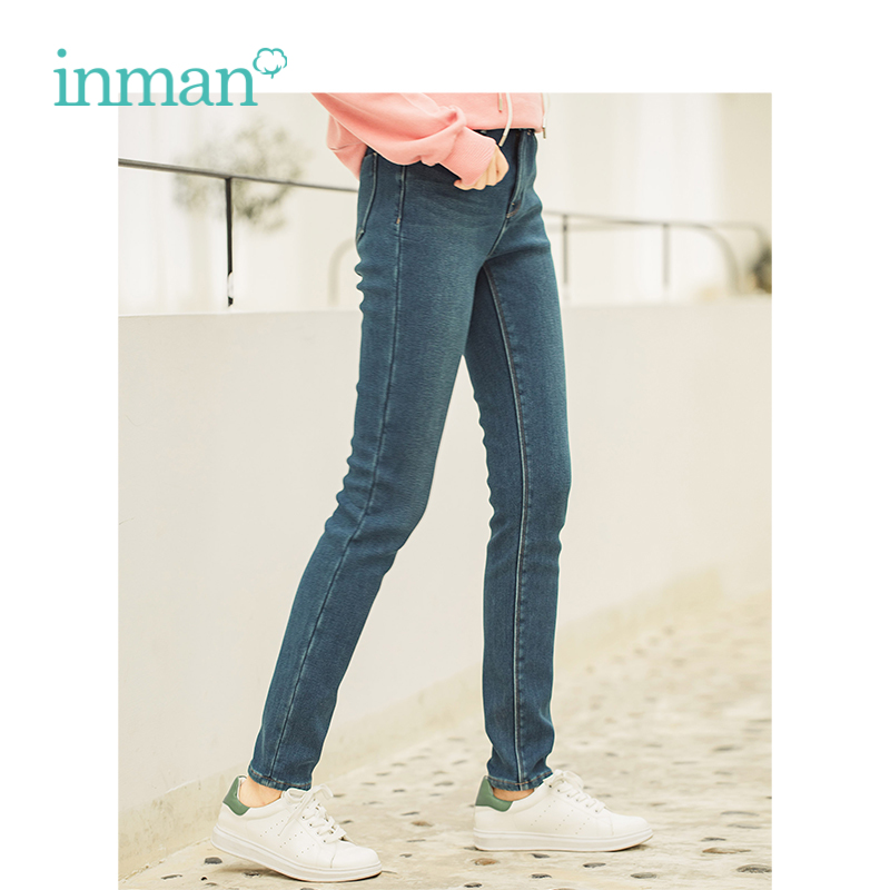 INMAN Winter New Arrival Female Middle Waist Retro Wild Models Korean Warm Plus Velvet Woman Jeans