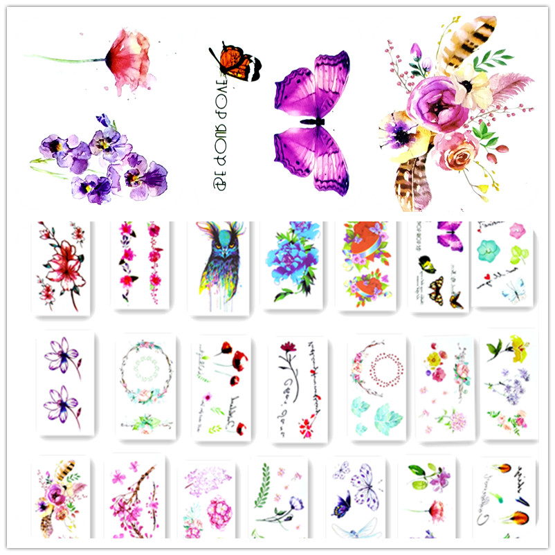 Colorful Butterfly Fox Feather Body Art Sexy Harajuku Waterproof Temporary Tattoo For Man Woman Henna Fake Flash Tattoo Stickers 2