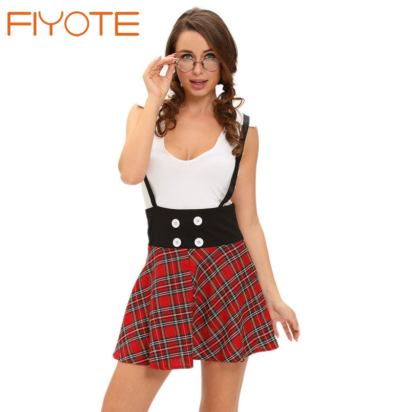 Buy FIYOTE Sexy lingerie costumes Teasing Schoolgirl 2pcs Suspending Skirt Dress LC8973 adults women apparel games role playing