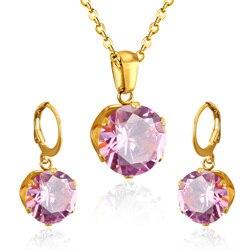 Luxkisskids – ensemble de bijoux de mariée couleur or, pour femme, mariage de luxe, avec Zircon AAA de haute qualité