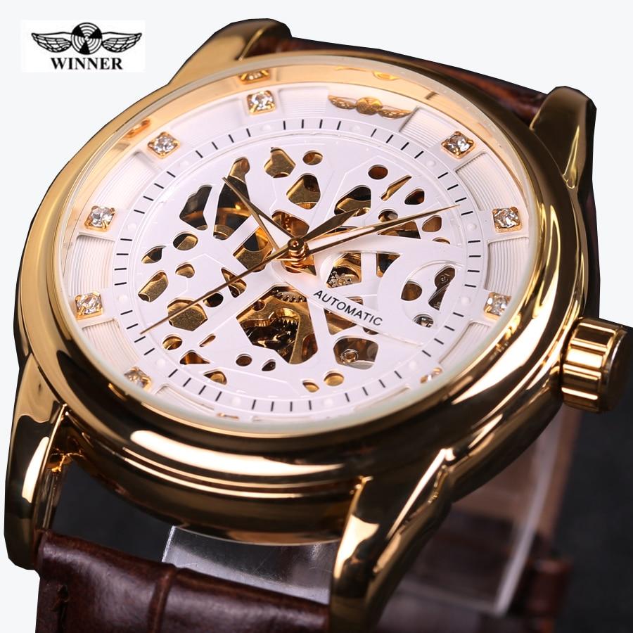 524360e0a28 Vencedor Royal Design Diamante Ouro Negro Relógio Montre Homme Mens  Relógios Top Marca de Luxo Relogio Masculino Relógio Mecânico Esqueleto em  Relógios ...