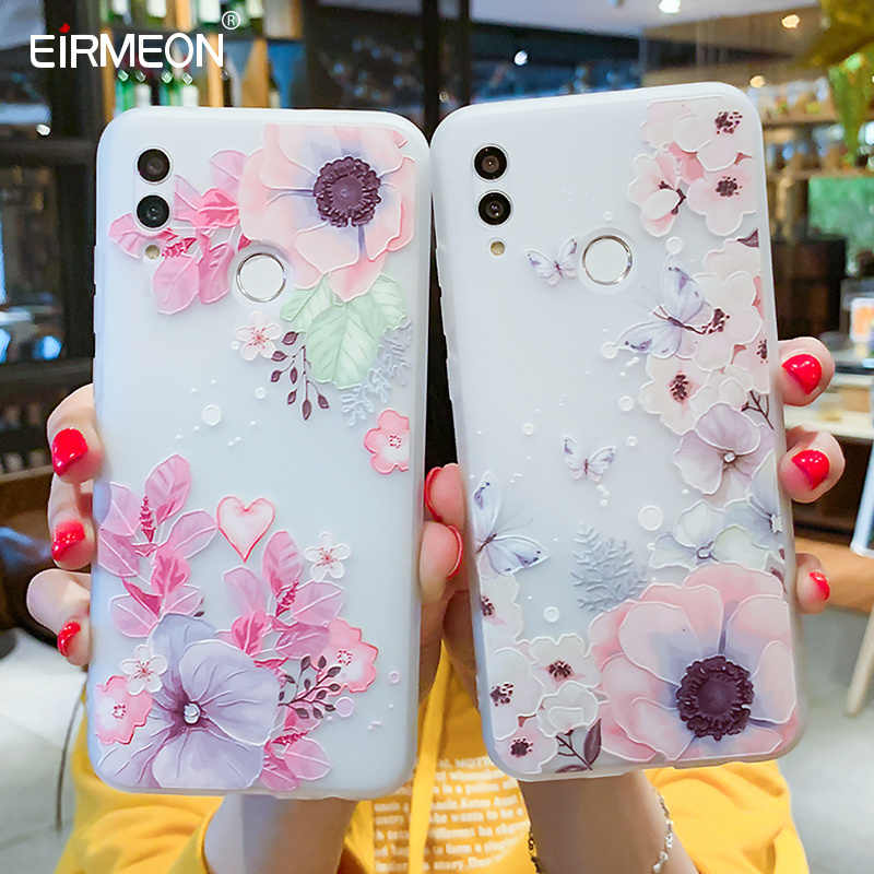 EIRMEON Case For Huawei P Smart 2019 3D Relief Floral Cases For Huawei Mate 10 Mate 20 Pro Honor 10 Lite Frosted TPU Phone Cover