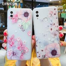 EIRMEON מקרה עבור Huawei P חכם 2019 3D הקלה פרחוני Huawei Mate Mate 10 20 פרו כבוד 10 lite חלבית TPU טלפון כיסוי