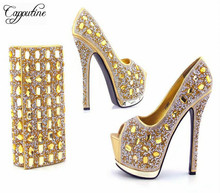 Capputine European Style Rhinestone Super High Heels Shoes And Bags Italian Ladies Shoe And Bag Set For Wedding Party Size 38-42