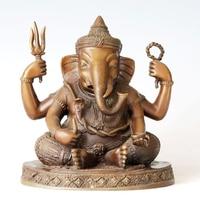ATLIE BRONZES bronze sculpture Sri Ganesh buddha statue sitting Ganesha Buddhism Lucky temple decoration