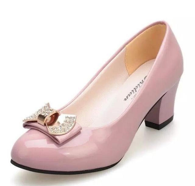Hot 2018 Women Pumps Block Thick High Heels wedding Shoes ladies Bowtie  Pink Working shoe Woman zapatos mujer dames schoenen 87379d0ece7b