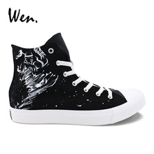 Wen Design Custom Hand Painted Shoes Muay Thai K.O. Black High Top Canvas Sneakers Women Men's Casual Classic Shoes