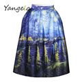 2016 summer new European and American abstract painting moonlight digital printing waist was thin fashion wild pleated skirts