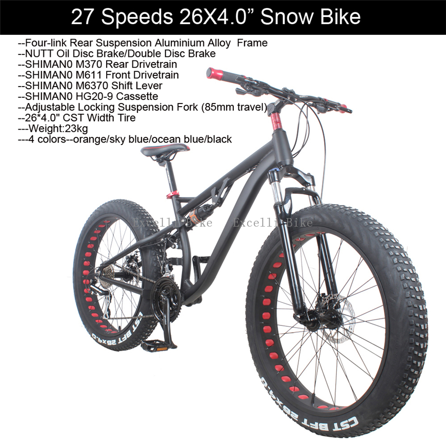 Excelli 27 Speeds Snow Bike Mountain Bike26 Fat Bicycle Bicicleta Mountain Bike 26 Full suspension Fat Bike NUTT Oil Disc Brake 21 24 27 speeds 26 2 35 dh downhill bicicletas 26 18 damping full suspension fork oil disc brake bicicleta dh mountain bike 26