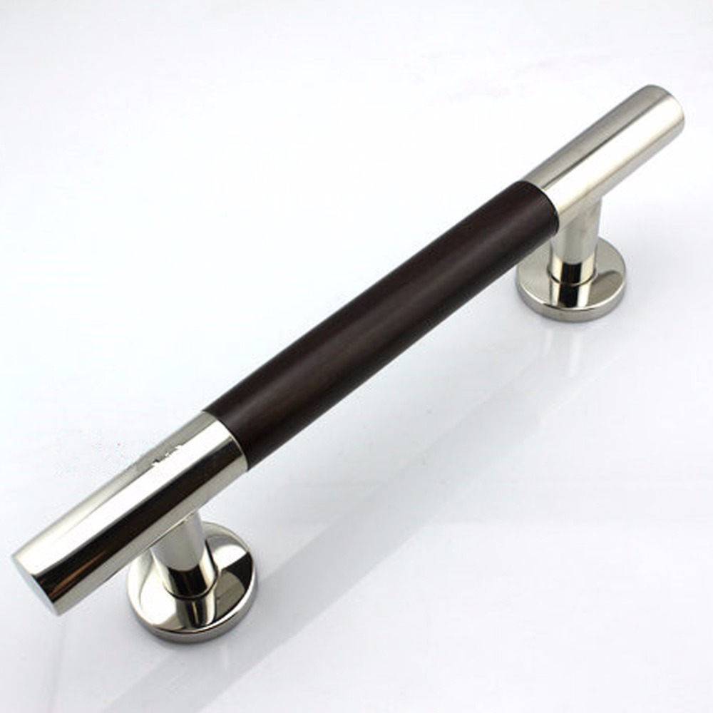 400mm 304 Stainless Steel &Walnut Glass & Wood Door Handles Cabimet Closet ChromeBlack  Pulls and Knobs Drawer Rest Room Pulls