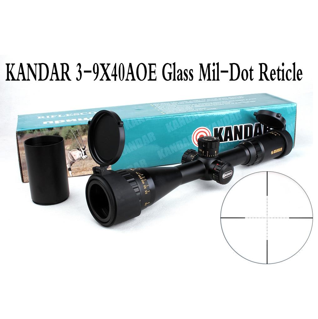 전술 광학 시력 골드 에디션 KANDAR 3-9x40 AOME 유리 밀 도트 레티클 잠금 장치 RifleScope 사냥 용 라이플 범위
