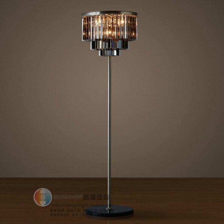Marbre base fumée cristal lampadaire pour Restaurant salon LED ronde noir cristal lampadaire mariage cristal lumière Tripot