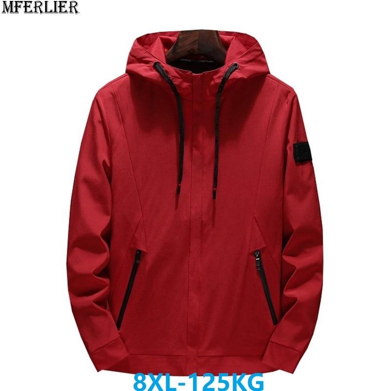 MFERLIER autumn men jackets hooded navy blue large size big 6XL 7XL 8XL zipper casual hipster jackets korea style black coat red