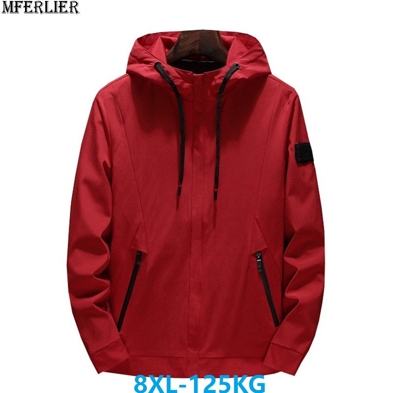 MFERLIER autumn men jackets hooded navy blue large size big 6XL 7XL 8XL zipper casual hipster jackets korea style black coat red