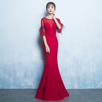 New Faahion Red Cheongsam Sexy Qipao Women Long Traditional Chinese Dresses Retro Dressing Gown Evening Dress Robe Orientale