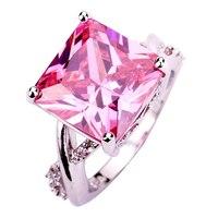 JROSE Fashion Wholesale Wedding Jewelry Princess Cut Sweet Pink & White Topaz 925 Silver Ring Size 6 7 8 9 10 Free Shipping