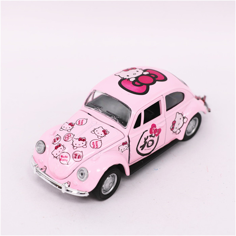 Hello Kitty Beetle Car Toy, Diecast Metal KT Cars Model, Mini Pink Beetle Models, Openable Door, Kids Toys Girls Gift Brinquedos
