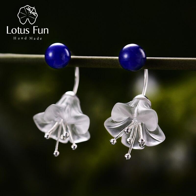 Lotus Fun réel 925 boucles d'oreilles en argent Sterling cristal naturel à la main bijoux fins fleur fraîche boucles d'oreilles pour les femmes Brincos