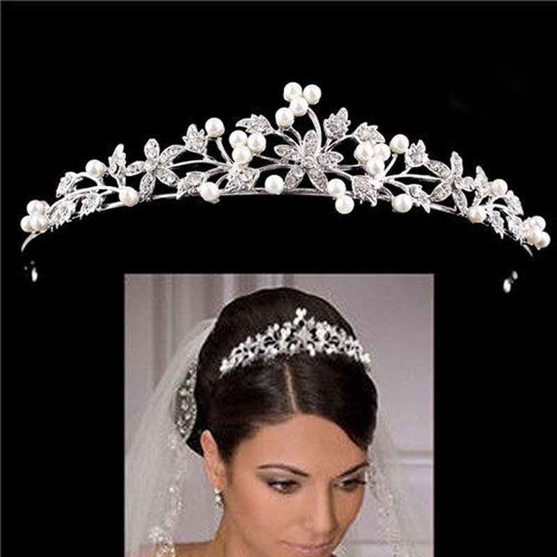 Perle Blume Haarnadeln Braut Hochzeit Tiara Diadem Haarschmuck Strass Zirkonia