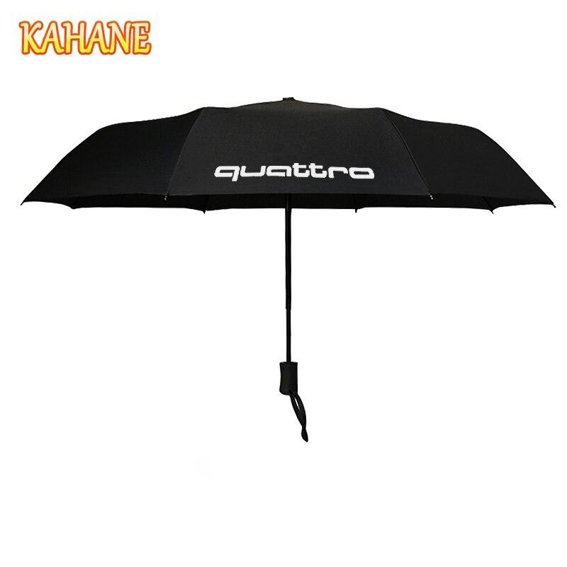 KAHANE Quattro Logo Automatic Men & Women Sun Rain Umbrella For Audi A3 A4 A5 A6 A7 A8 R8 Q3 Q5 Q7 RS S3 S4 S5 S6 S7 RS3 RS4