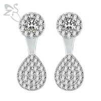 Sparkle Crystal Round Drop Design Brincos Ear Stud Earring For Women Female 925 Sterling Silver Earring