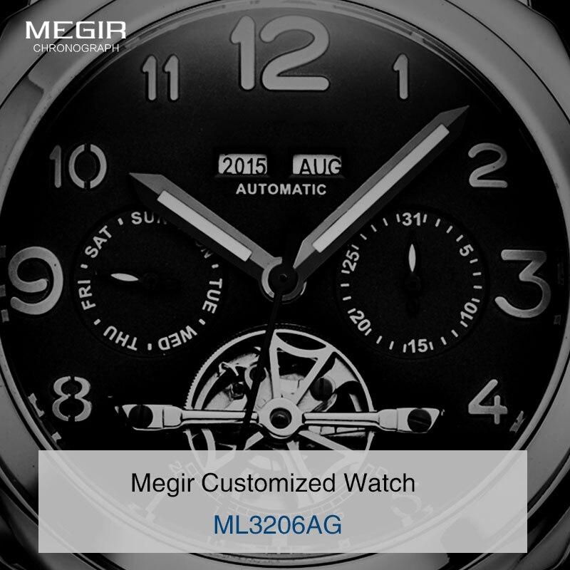 Megir luxus männer armee marke mechanische uhren mode relogio masculino leder armbanduhr mann skeleton stunde für männlichen 3206AG-in Mechanische Uhren aus Uhren bei  Gruppe 3